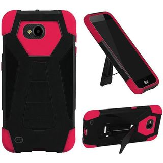 Insten Black/ Hot Pink Hard PC/ Silicone Dual Layer Hybrid Case Cover with Stand For LG X Venture