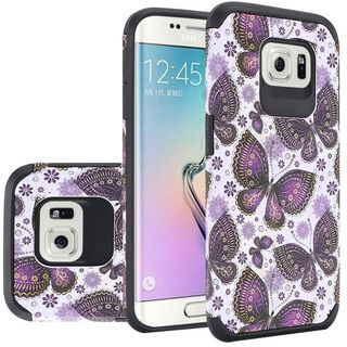 Insten Purple/ White Butterfly Flower Hard PC/ Silicone Dual Layer Hybrid Case Cover For Samsung Galaxy S6 SM-G920