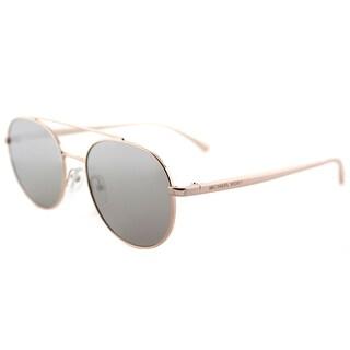 Michael Kors MK 1021 11166G Lon Rose Gold Tone Metal Aviator Sunglasses Silver Mirror Lens