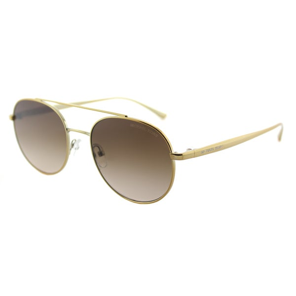 2ab9312c84 Michael Kors MK 1021 116813 Lon Gold Tone Metal Aviator Sunglasses Brown  Gradient Lens