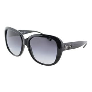 Coach HC 8207 542011 L1634 Black Plastic Square Sunglasses Grey Gradient Lens