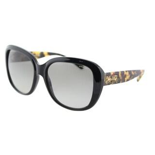 Coach HC 8207 544911 L1634 Black Plastic Square Sunglasses Light Grey Gradient Lens