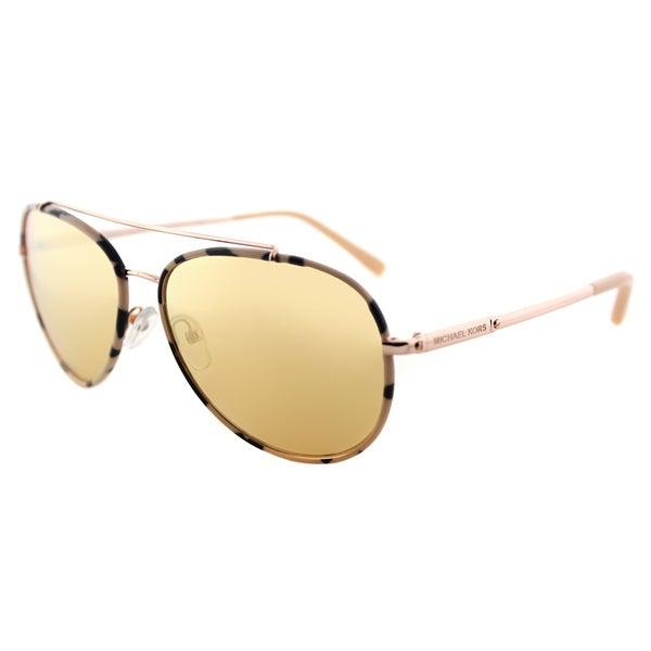 1022062dfdc2 Michael Kors MK 1019 11657J Ida Pink Tortoise Rose Gold Metal Aviator  Sunglasses Liquid Rose Gold