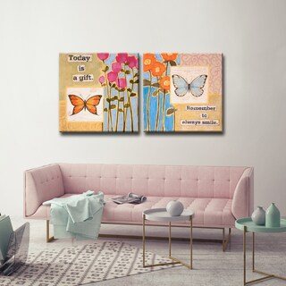 Ready2HangArt 2 Piece Wall Art Set 'Happy Thoughts I/II' by Hope Hansen