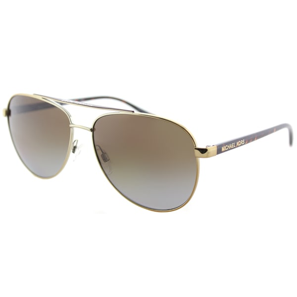c742003b0cb Michael Kors MK 5007 1044T5 Hvar Gold Tortoise Metal Aviator Sunglasses  Brown Gradient Polarized Lens