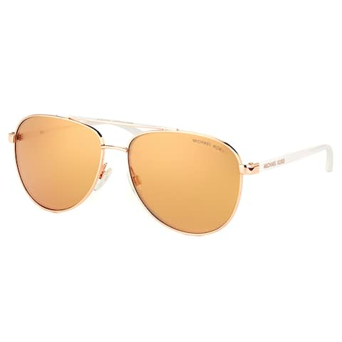 Michael Kors MK 5007 1080R1 Hvar Rose Gold Tone Metal Aviator Sunglasses Rose Gold Flash Lens