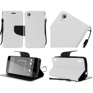Insten White/ Black Leatherette Case Cover Lanyard with Stand/ Wallet Flap Pouch For HTC Desire 530/ 550/ 555