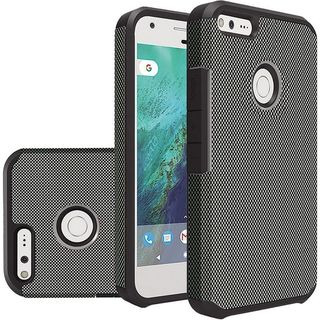 Insten Black Carbon Fiber Hard PC/ Silicone Dual Layer Hybrid Rubberized Matte Case Cover For Google Pixel XL