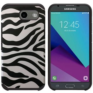 Insten Black/ White Zebra Hard PC/ Silicone Dual Layer Hybrid Rubberized Matte Case Cover For Samsung Galaxy J3 (2017)