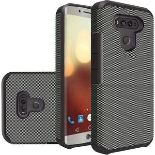 Insten Black Carbon Fiber Hard PC/ Silicone Dual Layer Hybrid Rubberized Matte Case Cover For LG G6