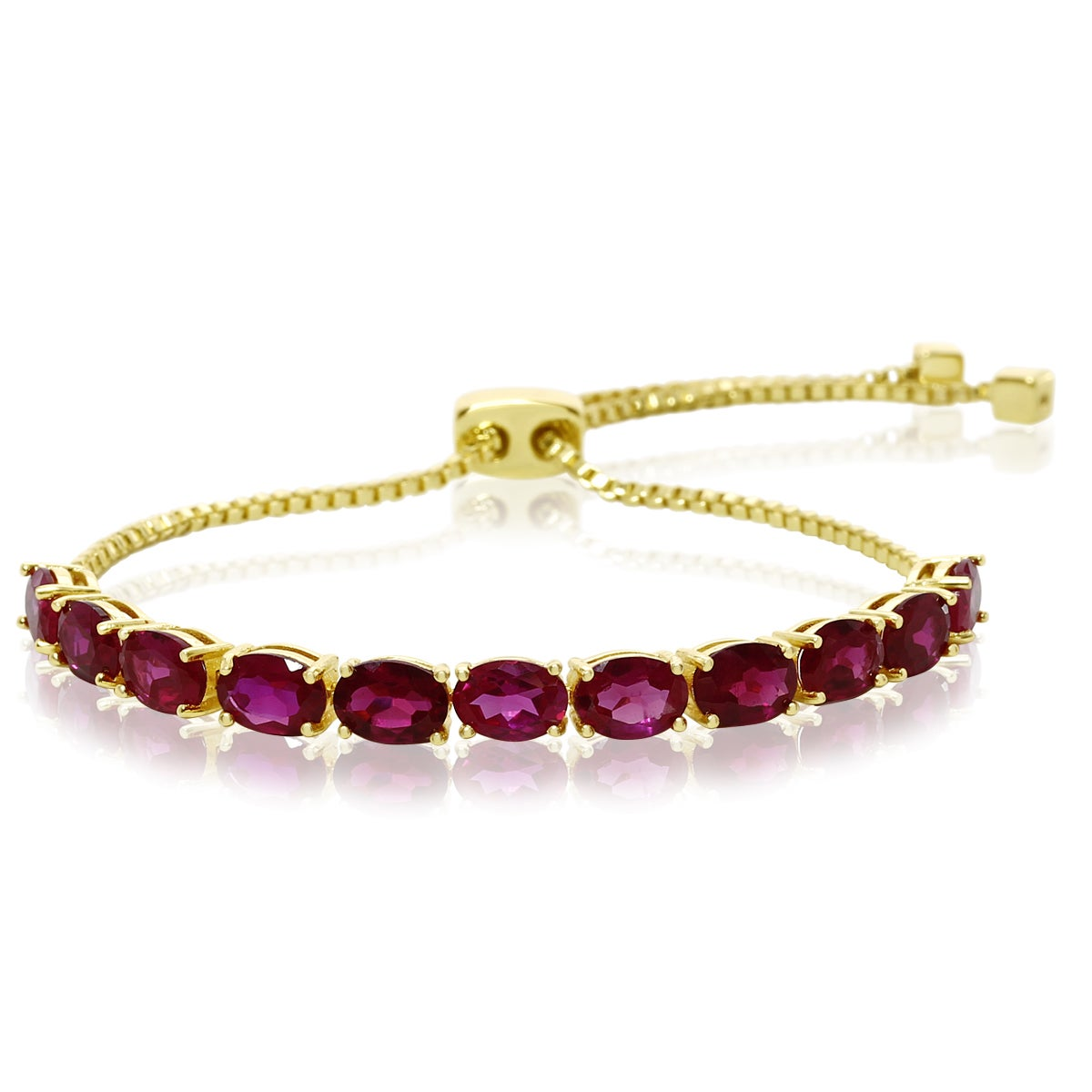 7 TGW Ruby Adjustable Slide Tennis Bracelet In Yellow Gol...