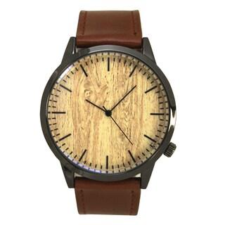 Olivia Pratt Men's Simple Wood Print Leather Watch One Size