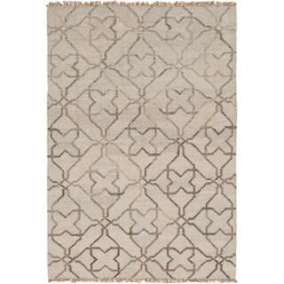 eCarpetGallery Izmir Khaki/Brown Wool and Cotton Hand-woven Kilim (4'2 x 6'0)