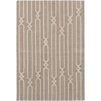 eCarpetGallery Izmir Grey/Cream Wool/Cotton Hand-woven Kilim - 4'6 x 6'8