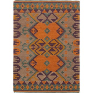 eCarpetGallery Hand-woven Brown and Orange Wool Izmir Kilim (4'9 x 6'8)