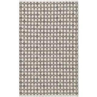 eCarpetGallery Izmir Black/Ivory Wool and Cotton Kilim (5' x 8')