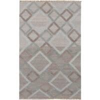eCarpetGallery Izmir Grey Wool/Cotton Hand-woven Kilim - 5'1 x 7'11