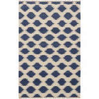 eCarpetGallery Izmir Blue/Ivory Wool and Cotton Hand-woven Kilim (5'1 x 7'11)