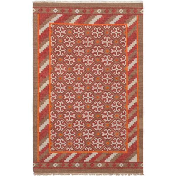 eCarpetGallery Izmir Kilim Red Wool Hand-woven Rug - 5'2 x 8'1