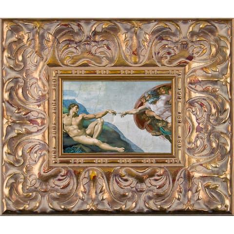 Michelangelo 'Creation of Adam' Pre-Framed Miniature Print on Canvas