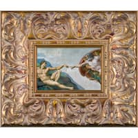 Michelangelo 'Creation of Adam' Pre-Framed Miniature Print on Canvas