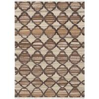 eCarpetGallery Hand-Woven Izmir Brown and Ivory Wool Kilim - 5'7 x 7'9