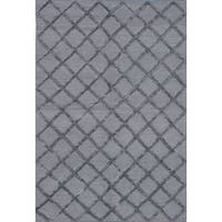 eCarpetGallery Hand-woven Cambridge Grey/Dark Grey Art Silk and Cotton Kilim Rug (6'1 x 9'1)