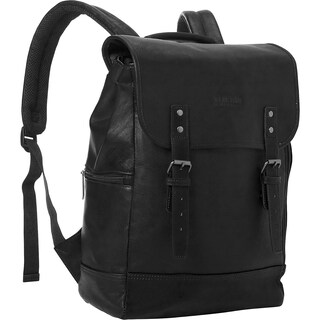 Kenneth Cole Reaction Colombian Leather Flapover RFID Protected 14.1-inch Laptop Backpack (Option: Black)