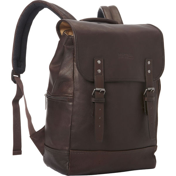 Kenneth Cole Reaction Full-Grain Colombian Leather Flapover Anti-Theft RFID Protected 15-inch Laptop & Tablet Backpack