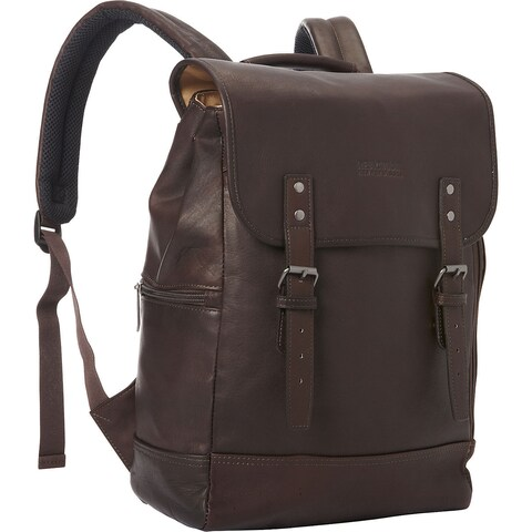 Kenneth Cole Reaction Colombian Leather Flapover RFID Protected 15-inch Laptop Backpack