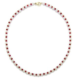 DaVonna 14k Yellow Gold 5-5.5mm White Freshwater Pearl and 4-4.5mm Red Ruby Necklace, 18""