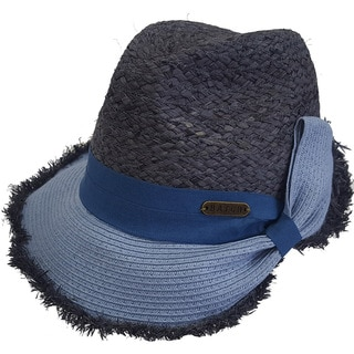 Hatch Blue Straw Safari Fedora Hat