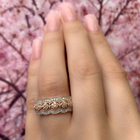Miadora Signature Collection 10k Rose Gold 1/2ct TDW Diamond Milgrain Detail Anniversary Ring