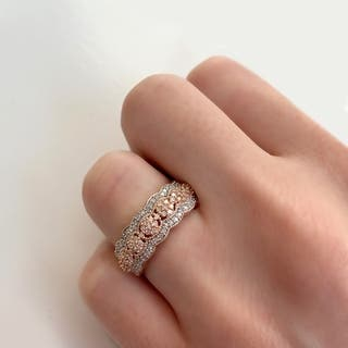 Miadora Signature Collection 10k Rose Gold 1/2ct TDW Diamond Milgrain Detail Anniversary Ring|https://ak1.ostkcdn.com/images/products/15628763/P22060930.jpg?impolicy=medium