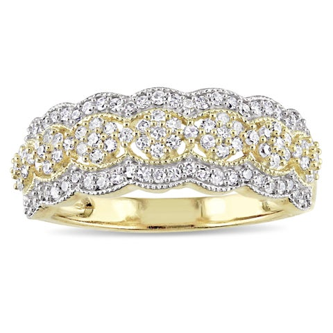 Miadora Signature Collection 10k Yellow Gold 1/2ct TDW Diamond Milgrain Detail Anniversary Ring