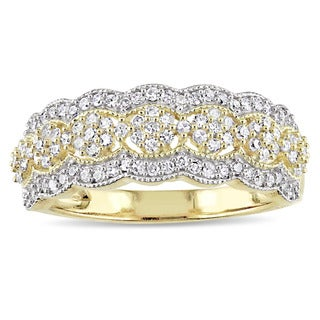 Link to Miadora Signature Collection 10k Yellow Gold 1/2ct TDW Diamond Milgrain Detail Anniversary Ring Similar Items in Wedding Rings