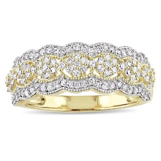 miadora signature collection 10k yellow gold 12ct tdw diamond milgrain detail anniversary ring - Wedding Rings Vintage