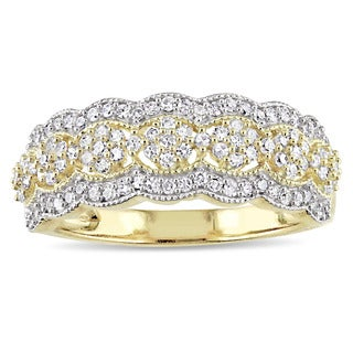 Miadora Signature Collection 10k Yellow Gold 1/2ct TDW Diamond Milgrain Detail Anniversary Ring