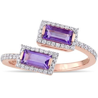 Miadora Signature Collection 14k Rose Gold Baguette-Cut African-Amethyst and 1/4ct TDW Diamond Halo Bypass Ring