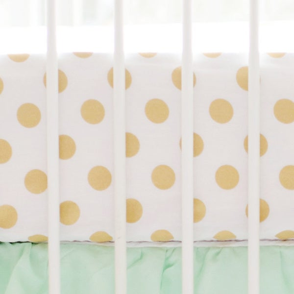 Marion S Coral And Gold Polka Dot Nursery: Shop My Baby Sam Gold Polka Dot Crib Sheet