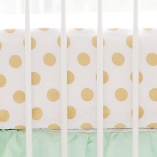 My Baby Sam Gold Polka Dot Crib Sheet