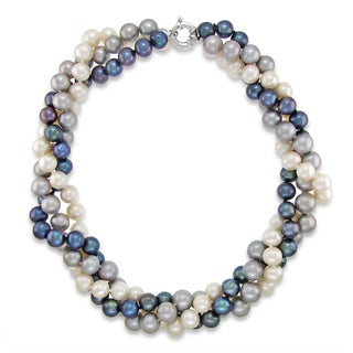 DaVonna Sterling Silver 8 9mm Twisted 3 Rows Multi Colors Freshwater Pearl Necklace 18