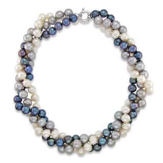 """DaVonna Sterling Silver 8-9mm Twisted 3-rows Multi-colors Freshwater Pearl Necklace, 18"""""""