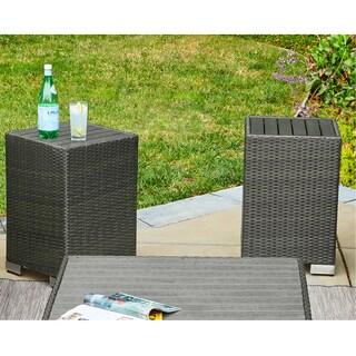 Handy Living Aldrich Grey Indoor/Outdoor 2 Piece Rattan End Table Set