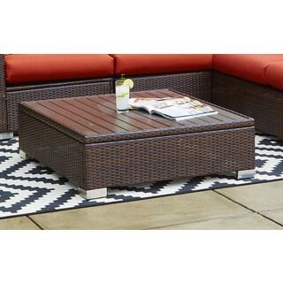 Handy Living Aldrich Brown Indoor/ Outdoor Rattan Cocktail Table