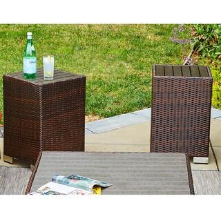 Handy Living Aldrich Brown Indoor/Outdoor 2 Piece Rattan End Table Set