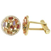 Luxiro Gold Finish Sterling Silver Baguette Cubic Zirconia Cuff Links - Red