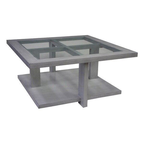 Omni Wood and Glass Cocktail Table
