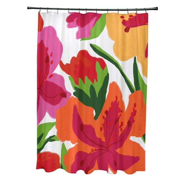 Tropical Floral, Floral Print Shower Curtain