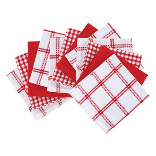 T-fal Textiles 12 Pack Flat Waffle Cotton Kitchen Dish Cloth Set (Option: Red)